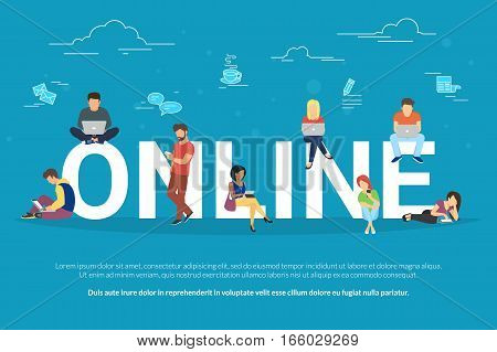 Online addiction concept illustration of young people using mobile gadgets such as smartphone and laptop for social networking. Flat design of guys and young women on letters with social media symbols