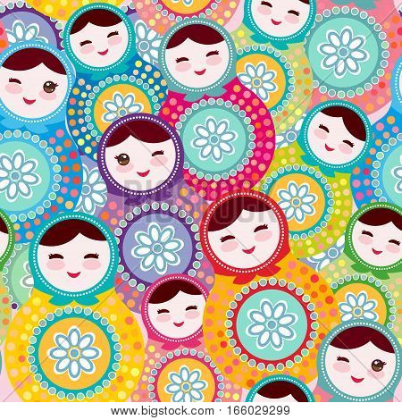 Russian dolls matryoshka, pink blue green colors colorful bright, seamless pattern. Vector illustration
