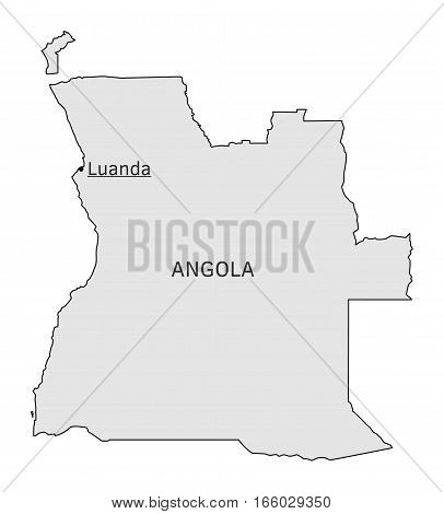 Angola silhouette map with Luanda capital isolated on white
