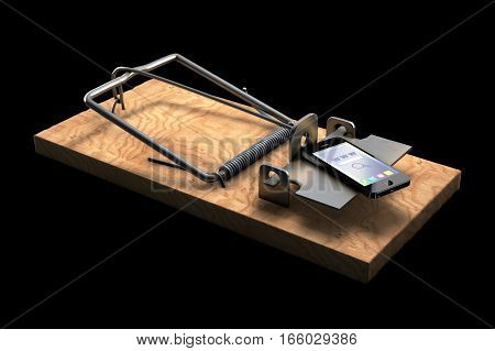 3D illustration of Mousetrap with phone isolated on black