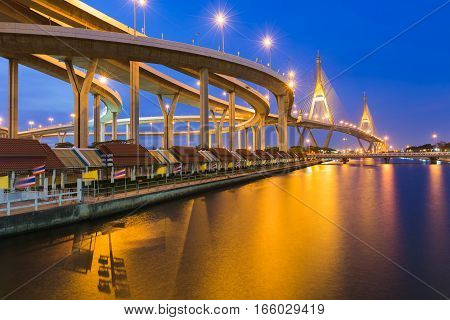 Bangkok twin suspension bridge over the river with clear blue sky background Thailand