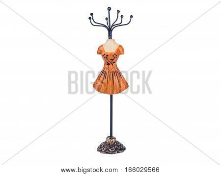 Picture of the bijouterie stay, isolated on white background close up. Mannequin styled stand for bijouterie.