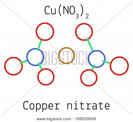 Copper nitrate CuN2O6 molecule isolated on white