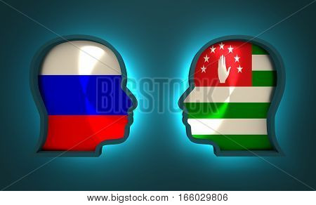Image relative to politic and economic relationship between Russia and Abkhazia. National flags inside the heads of the businessmen. Teamwork concept. 3D rendering. Neon light