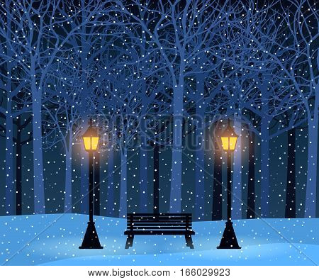 Stock vector illustration nature backdrop of winter park and outdoor landscape with bench and streetlamps on background of silhouette of trees for brochure, banner, website, printed materials, card