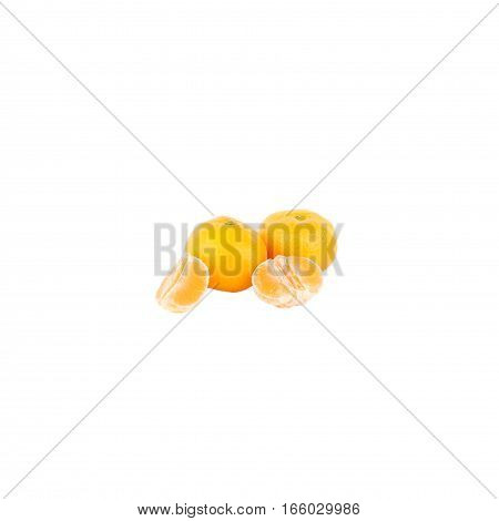 Yellow Mandarins, Isolated On White