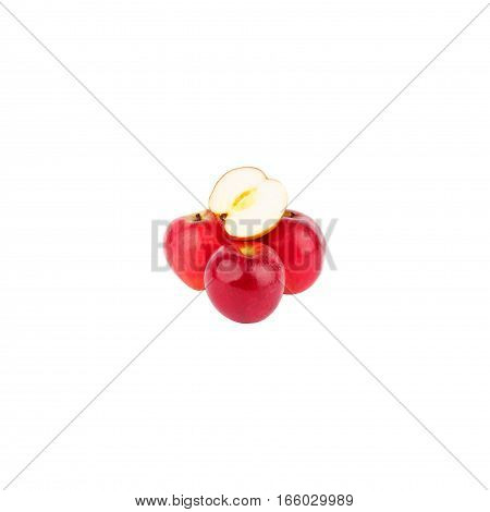 Whole And A Half Apples Isolated On White