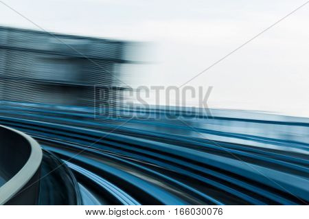 Abstract blurred motion moving train curved background