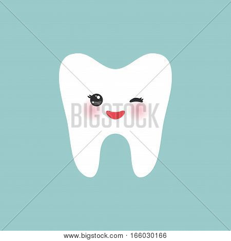 Smiling happily tooth Healthy cute cartoon tooth character, winking tooth with pink cheeks, blue background. Vector illustration