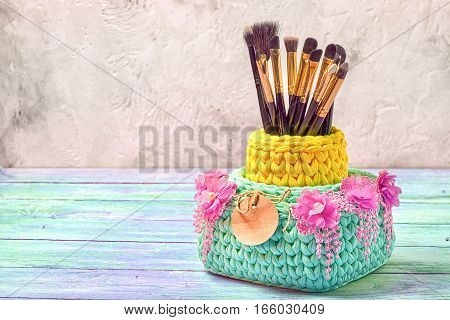 Knitted Baskets With Brushes For Make-up, Decorated Wit Floral Lace With Fringe And Paper Tag. Copy