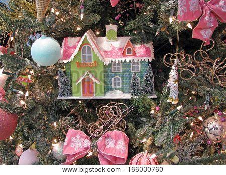 Fairy tale house as Christmas tree decoration