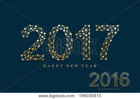 Golden text design Christmas and Happy new year 2017. Graphic background molecule and communication. Connected lines with dots. Lines plexus. Scientific cybernetic vector illustration