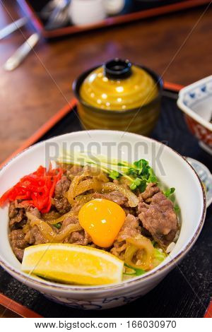 the famous gyudon set with miso soup