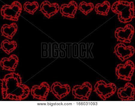 beautiful frame of red hearts on a black background