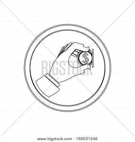 silhouette circular shape with warning sign insert coin icon flat vector illustration