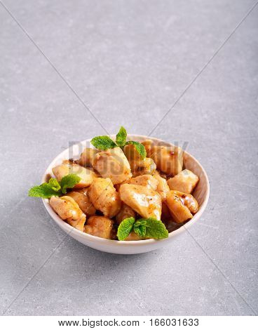 Lemon and mint chicken breast in a bowl
