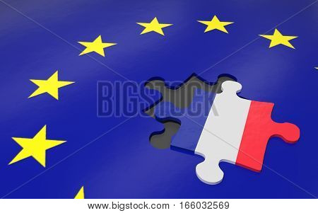 3d illustration Frexit the removed piece in a puzzle EU