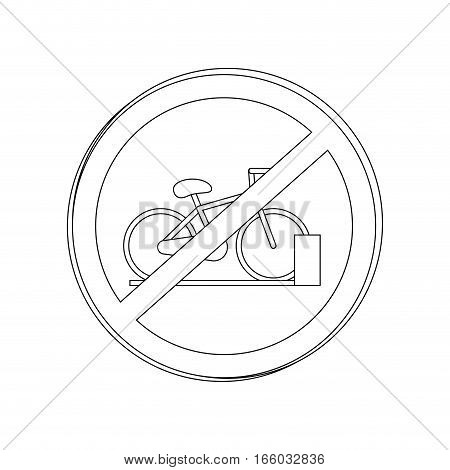 silhouette circular contour road sign prohibited parking area for bicycles vector illustration