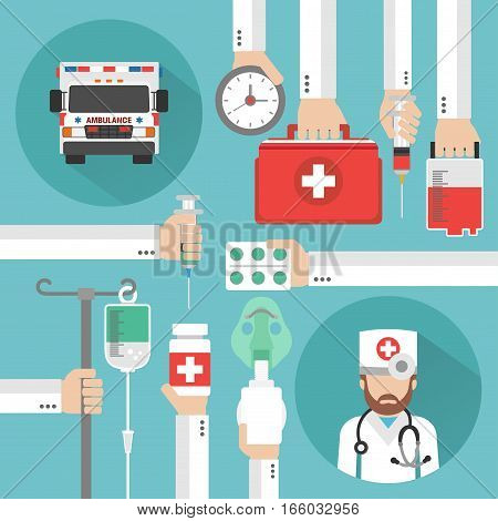 Healthcare flat design with ambulance and doctor.Vector illustration