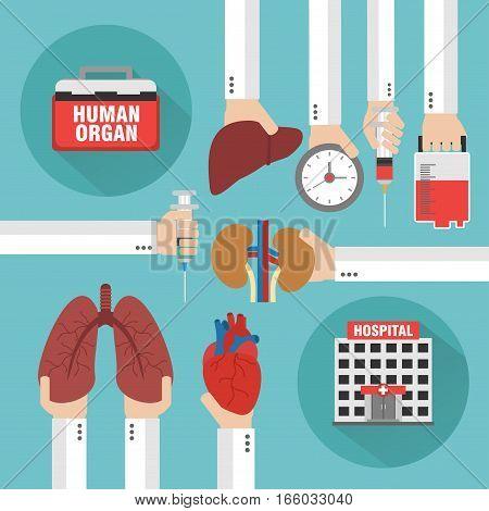 Transplantation Human organ design flat. Vector illustration
