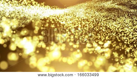 Gold particle wave with light flare abstract background