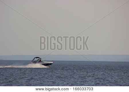 Motorboat With Waves On The River
