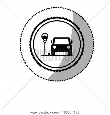 dotted sticker with parking area for vehicles with parking meter vector illustration
