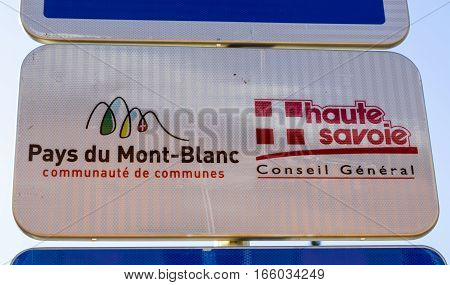 Saint-Gervais Mont Blanc France - December 302014: Indicator of The Lands of Mont Blanc located at the rail station for the Tram of Mont Blanc in Saint Gervais Haute Savoie France.