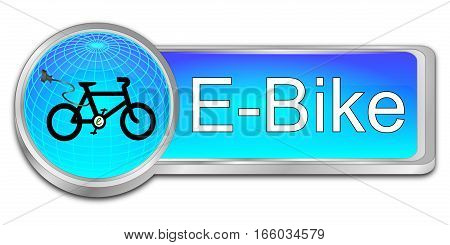 decorative blue E-Bike Button - 3D illustration