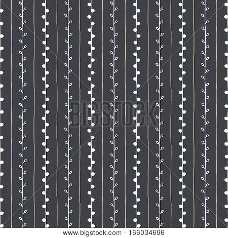 Seamless pattern. Beige vertical lines and white twigs on dark grey background. Hand drawn abstract branch illustration