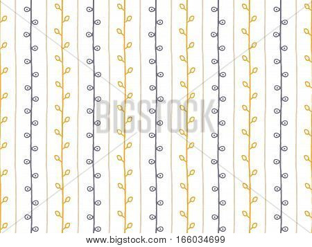 Seamless pattern. Orange grey brown hand drawn branch illustration. Abstract vertical lines and twigs on white background
