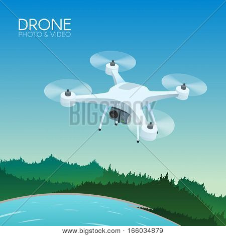 Drone with remote control flying over nature landscape. Aerial drone with camera taking photography and video concept vector illustration.