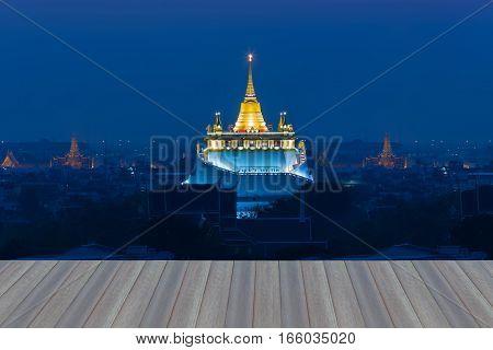 Opening wooden floor Golden Mount Temple or Wat Sarket the most famous landmark in Bangkok Thailand