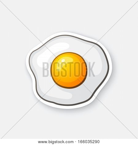 Vector illustration. One fried egg. Scrambled egg. Healthy food. Cartoon sticker in comic style with contour. Decoration for greeting cards, posters, patches, prints for clothes, emblems