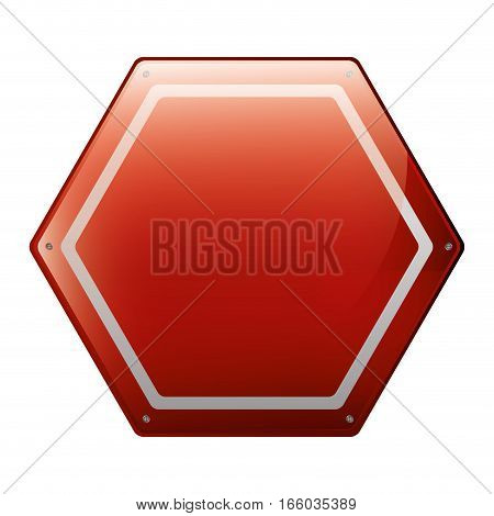 hexagon of road sign red vector illustration
