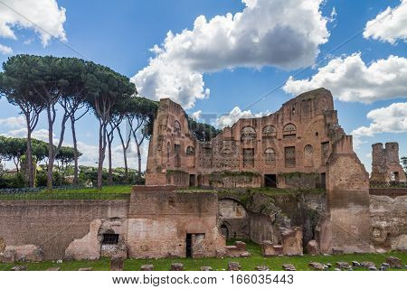 A photo of roman remains in Rome, Italy