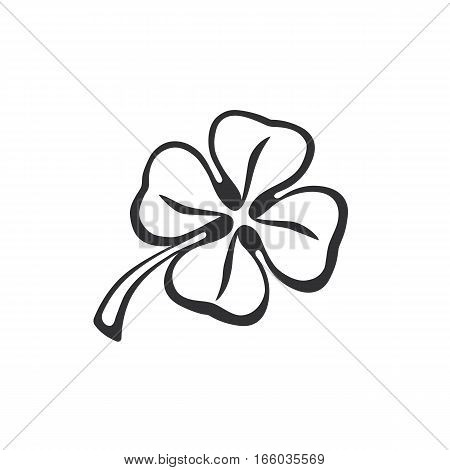 Vector illustration. Doodle of four leaf clover. Hand drawing doodle. Lucky quatrefoil. Good luck symbol. Decoration for greeting cards, posters, emblems