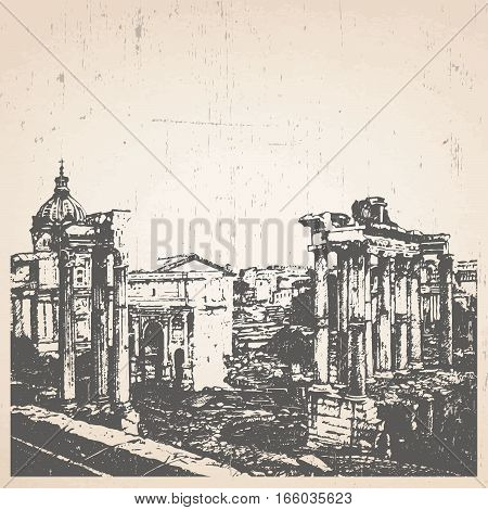 Hand-drawn illustration of Rome. Roman Forum. Italy. Vector