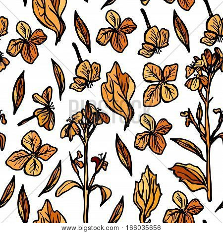autumn seamless pattern, sketch, orange and black flowers on white background. Vector illustration