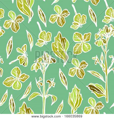 summer seamless pattern, leaves and flowers, orange and green flowers on a green background. Vector illustration