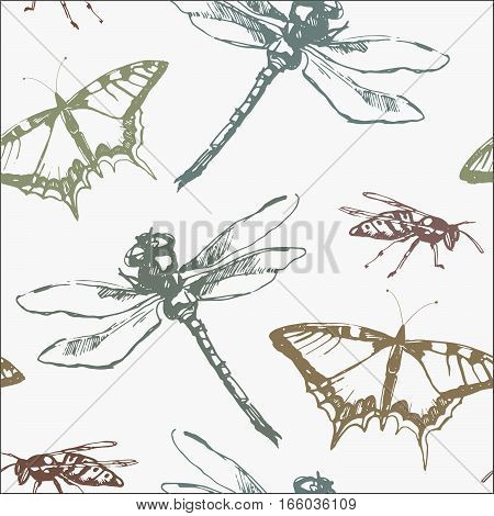Hand-drawn seamless pattern with dragonfly, butterfly and wasp. Vector elements.