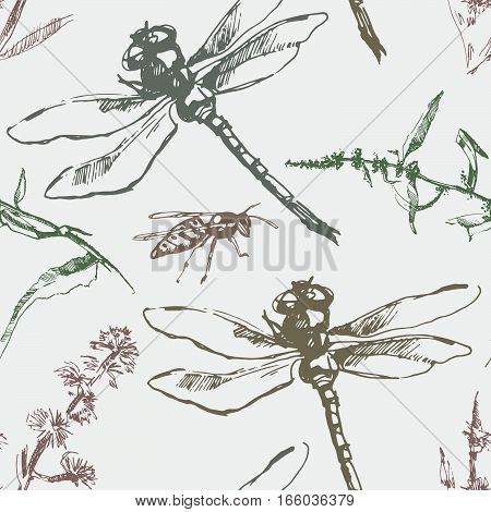 Hand-drawn seamless pattern with dragonfly, wasp and plants. Vector elements.