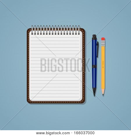 Spiral notebook with lines pencil and ballpen. Education or business concept. Office supplies.