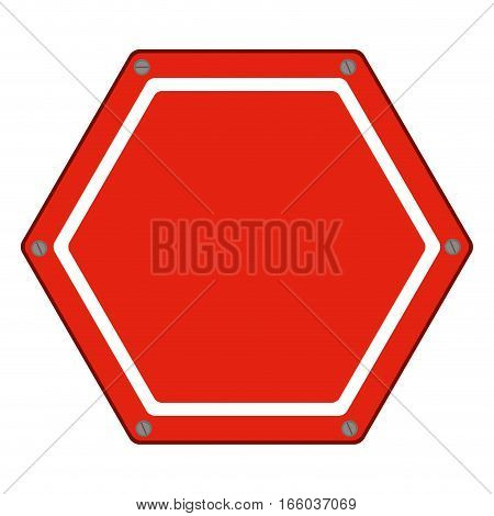 hexagon of road sign red icon flat vector illustration