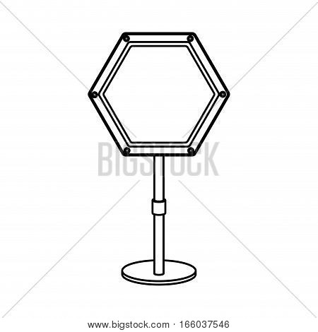 silhouette hexagon road sign mandatory detention vector illustration