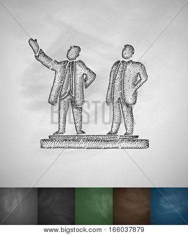 Kim Il Sung and Kim Jong Il icon. Hand drawn vector illustration. Chalkboard Design