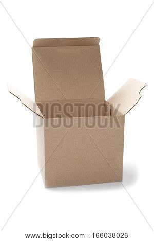 open square cardboard box on a isolated white background