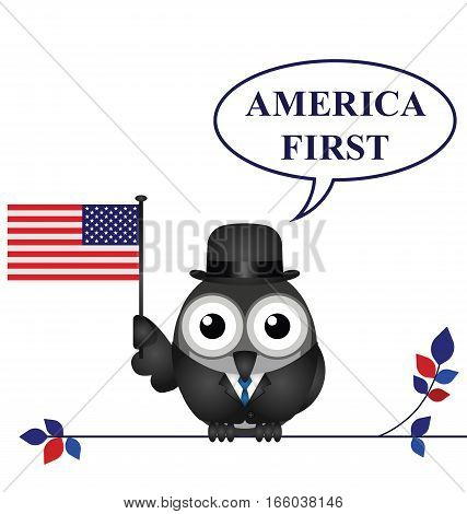 America First presidential inauguration pledge isolated on white background