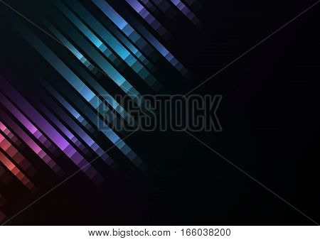 abstract pixel speed from corner background, square layer line racer motion technology geometric background, vector illustration