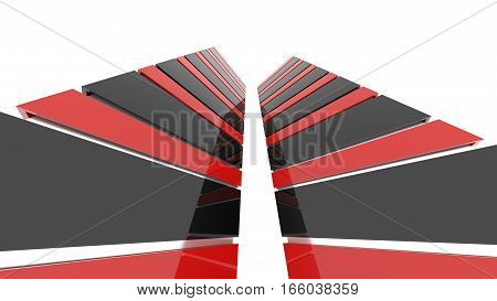 Futuristic black and red architecture background. Abstract architectural building of the future. 3D rendering.